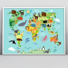Animal World Map Lion Fox Deer Owl Wall Art Canvas Painting Nordic Posters And Prints Nursery Wall Pictures Baby Kids Room Decor(China)