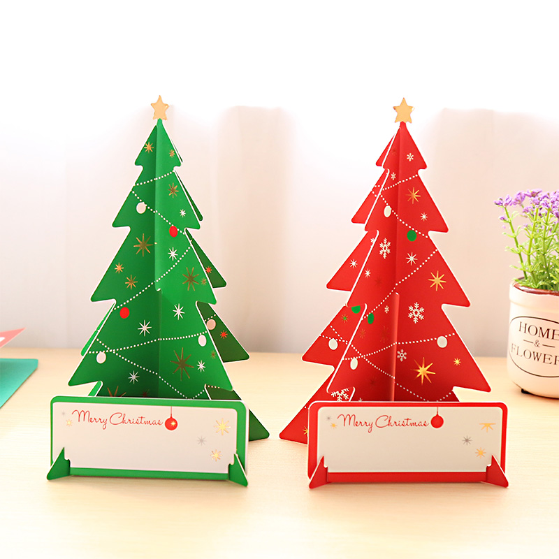 ᑎ‰2PCS Holiday Greeting Cards 3D Christmas Tree Card Merry ...