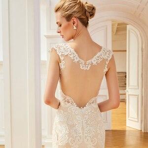 Image 5 - Dressv aplikacje elegancka suknia ślubna z dekoltem w szpic syrenka długość rękawy cap bridal outdoor & church suknie ślubne typu trąbka