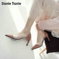 Sianie Tianie new genuine leather sheepskin suede shallow dress high heels women transparent jelly pumps stiletto woman shoes
