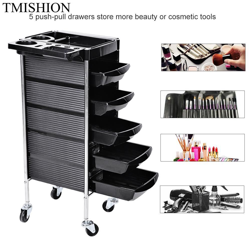 TMISHION Hair Nail Art Salon Instrument Storage Cart Adjustable Height Trolley Beauty Tools with 5 Drawers Nail Art Salon Tool 3d 12 candy colors glass fragments shape nail art sequins decals diy beauty salon tip free shipping