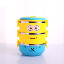 1-4 Layers Cartoon Minion Lunch box Stainless Steel for Kid Tiffin Boxes Thermal Bento For School Students Tableware DA(China)