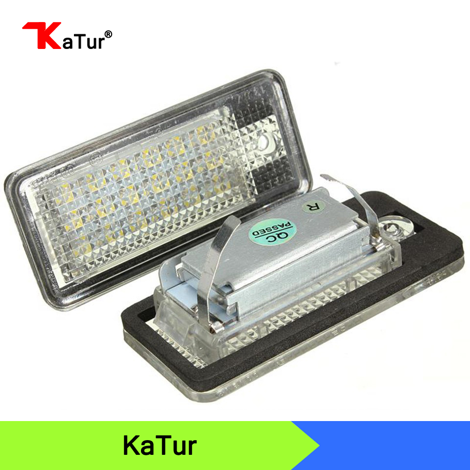 White Car NO Canbus Error 18SMD LED License Number Plate Light Lamp For Audi A3 S3 A4 S4 B6 B7 A6 S6 A8 Q7 147 no error car led license plate light number plate lamp bulb for vw touran passat b6 b5 5 t5 jetta caddy golf plus skoda superb