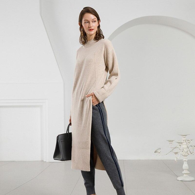 6e76133525d Women Winter Warm Knitted Dresses 100% Cashmere Dress Long Sleeve ...