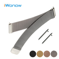 Milanese Loop Stainless Watch Band 22mm For Pebble Time Steel Magnetic Buckle Strap Quick Release Wrist