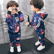 2017 spring and autumn boy baby clothes new style childrens set printing long sleeve +trousers sports leisure two pieces