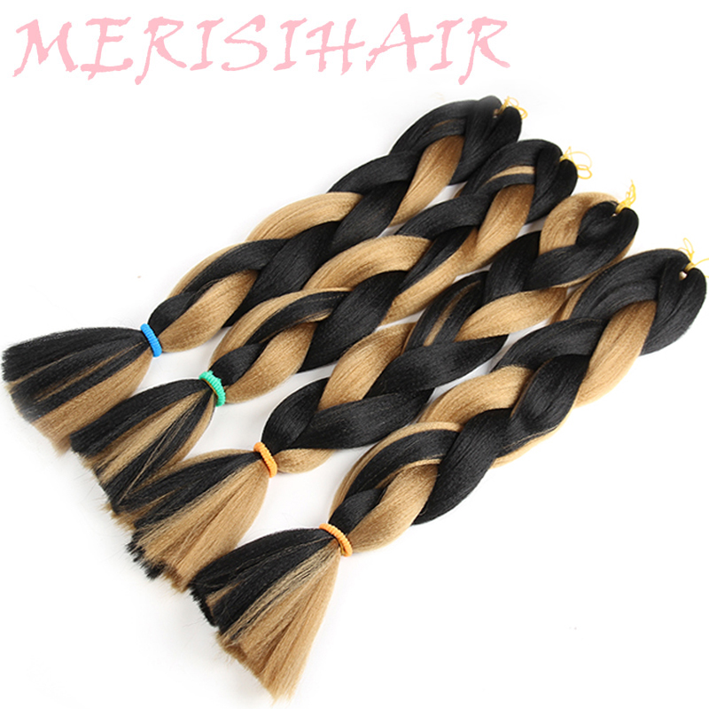 Hair Extensions & Wigs Hot Sale Merisihair 24inch Ombre Kanekalon Synthetic Crochet Hair Extensions Jumbo Braids Hairstyles Pink Blonde Red Blue Braiding Hair At All Costs Jumbo Braids