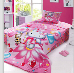 Christmas Gift Girls Duvet Cover Sets Blue Pink Hello Kitty Bedroom/twin  Size Kids Cat Bedding/Quilt Cover Set/ In Bedding Sets From Home U0026 Garden  On ...