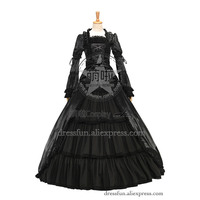 Renaissance Colonial Gothic Victorian Dress Punk Layered Ruffles Gown With Lace embraced the Collar showing glossy appearence