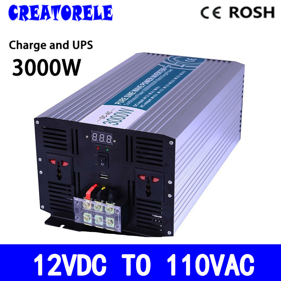 P3000-121-C soIar iverter 3000w 12v dc to 110v ac UPS iverter off grid Pure Sine Wave inversor with charger and UPS 5000w dc 48v to ac 110v charger modified sine wave iverter ied digitai dispiay ce rohs china 5000 481g c ups