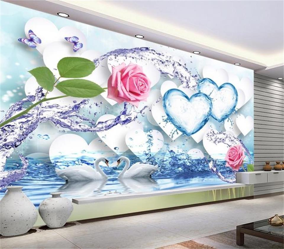 3d wallpaper photo wallpaper custom mural living room rose flower swan lake painting sofa TV background wallpaper for walls 3 d beibehang golden fountain fair 3d photo wallpaper mural living room bedroom corridor tv background wallpaper for walls 3 d