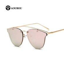 AOUBOU Summer Popular Light Red Sunglasses Women Brand Design Rimless Thin Memory Metal Legs Small Oval Sun Glasses 7118