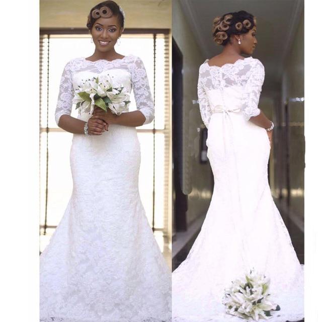 2017 Plus Size Lace Wedding Dresses Mermaid With Half Sleeve White ...