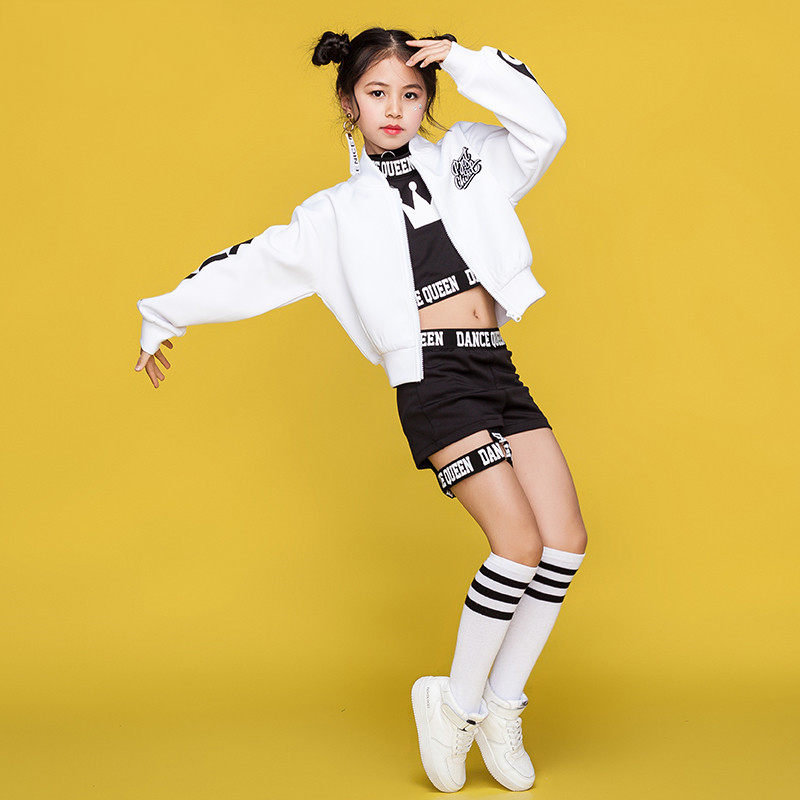 Children Hip Hop Dance Costumes Kids Street Dance Clothing White Jacket Black Vest Shorts Girls Dancewear Stage OutfitNew Modern