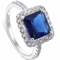 BELLA Fashion 925 Sterling Silver Bridal Ring Square Cubic Zircon Ring For Wedding Women Accessory Party