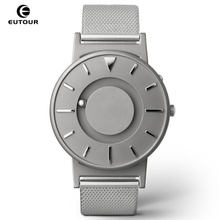 Купить с кэшбэком EUTOUR Men Watch Magnetic Ball Show Stainless Steel Men Watches For Blind Person Mens Wrist Watches Luxury relogio masculino