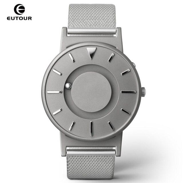 EUTOUR Men Watch Magnetic Ball Show Stainless Steel Mens Watch Luxury Brand Women Bracelet Wrist Watches Clock relogio masculino