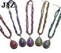 Природный Камень Druzy Ожерелье Многослойные Бисера Веревку Цепи Для Женщин Заявление Ожерелье Pingentes Педрас Naturais