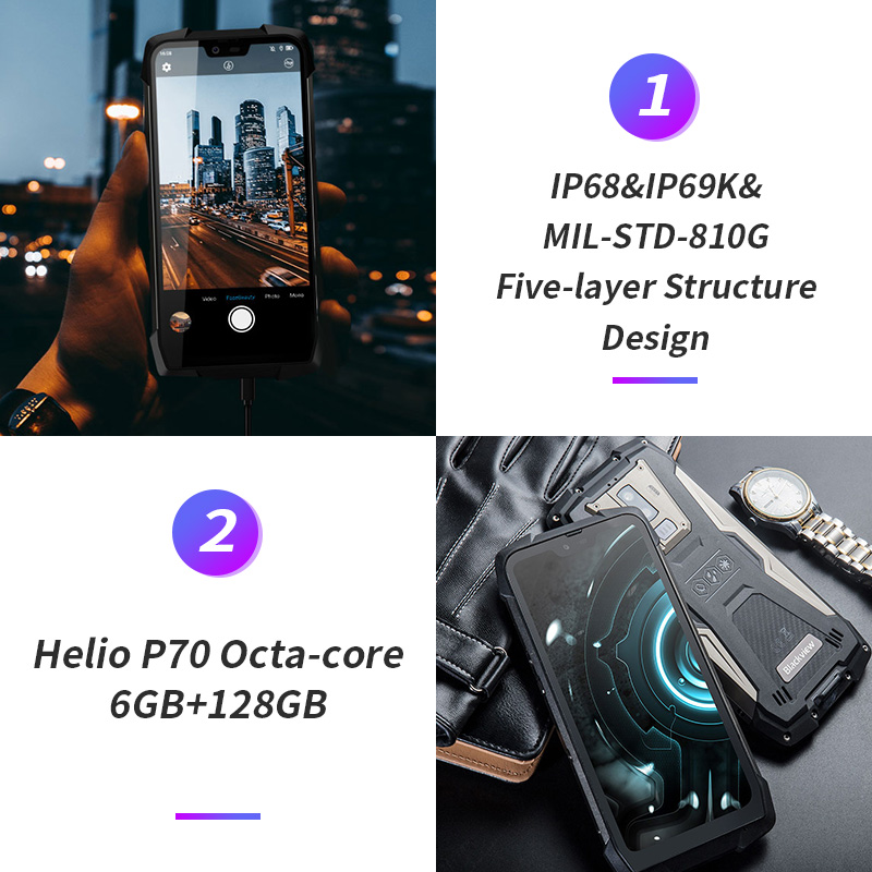 """Image 3 - 2019 Blackview BV9700 Pro IP68/IP69K Rugged Mobile Phone Helio P70 Octa core 6GB+128GB 5.84"""" IPS 16MP+8MP 4G Face ID Smartphone-in Cellphones from Cellphones & Telecommunications"""