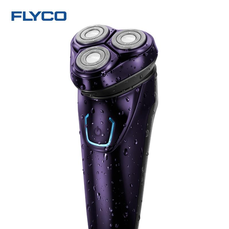 FLYCO IPX7 À Laver Électrique de Rasoir Hommes Rasoir Rechargeable Barbe Couteau 3D Flotteur Rasage Trois Rasoir Tête Sec Humide Étanche