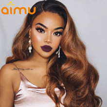 13x6 Deep Parting 250 Density Lace Front Human Hair Wigs for Black Women Ombre Honey Blonde Lace Front Wig Body Wave Virgin Hair(China)