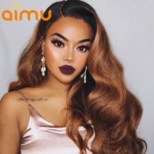 Wigs Virgin-Hair Lace-Front Density for Black-Women Ombre Honey Blonde Body-Wave 13x6