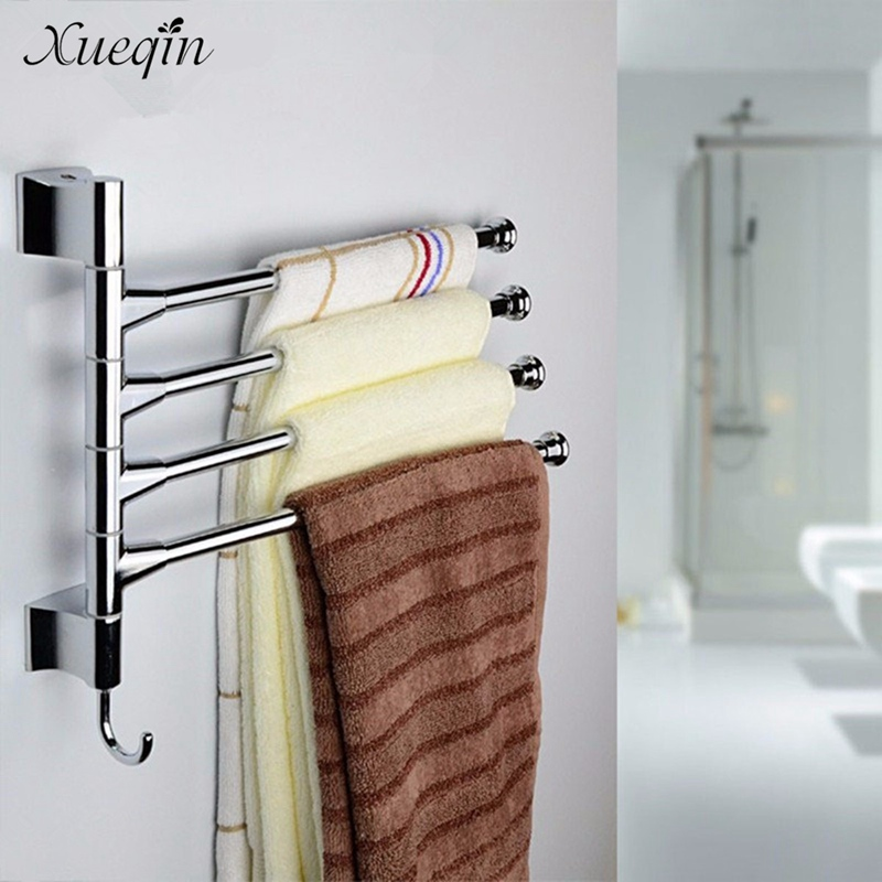 Xueqin Wall Mounted Bathroom Towel Rack Swivel 3 Lyer Towel Clothes Storage Holder  Shelf Stainless Steel