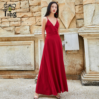 Tingfly Vintage Elegant Long Red Color Party Dresses Women Sexy V neck Cross Strap Backless Draped Maxi Dress Summer Vestidos