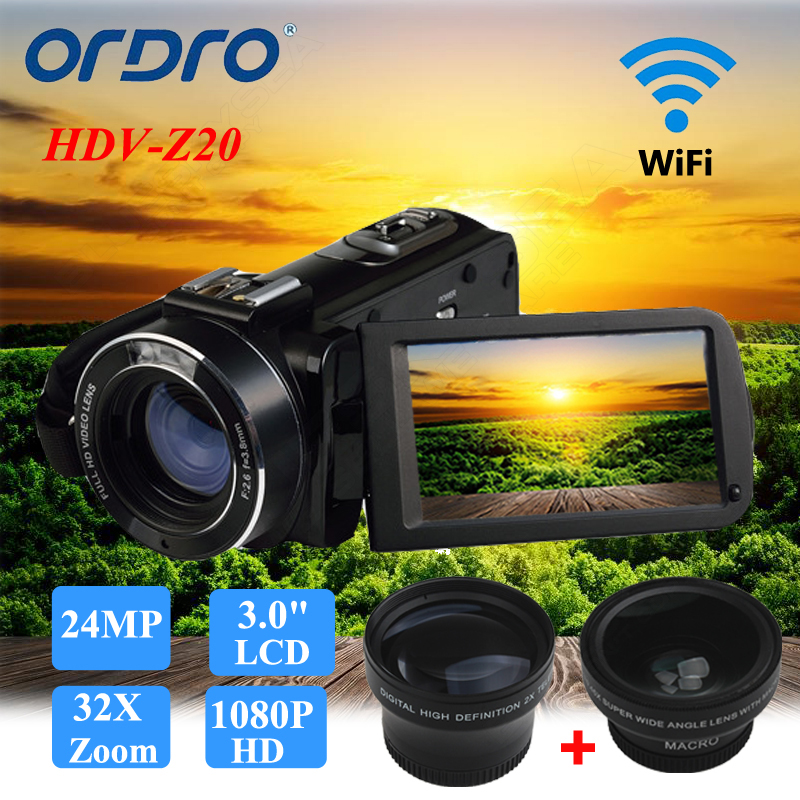 ORDRO Digital Video Camcorder Camera 1080P 24MP+0.45X Wide Lens+2X Teleconvertor Free shipping 1