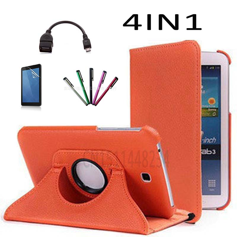 Pour Samsung Galaxy Tab 3 7.0 SM-T210 T211 P3200 P3210 360 Degrés de Rotation PU Cuir Flip stand Tablet Cover case + OTG + Film + stylo