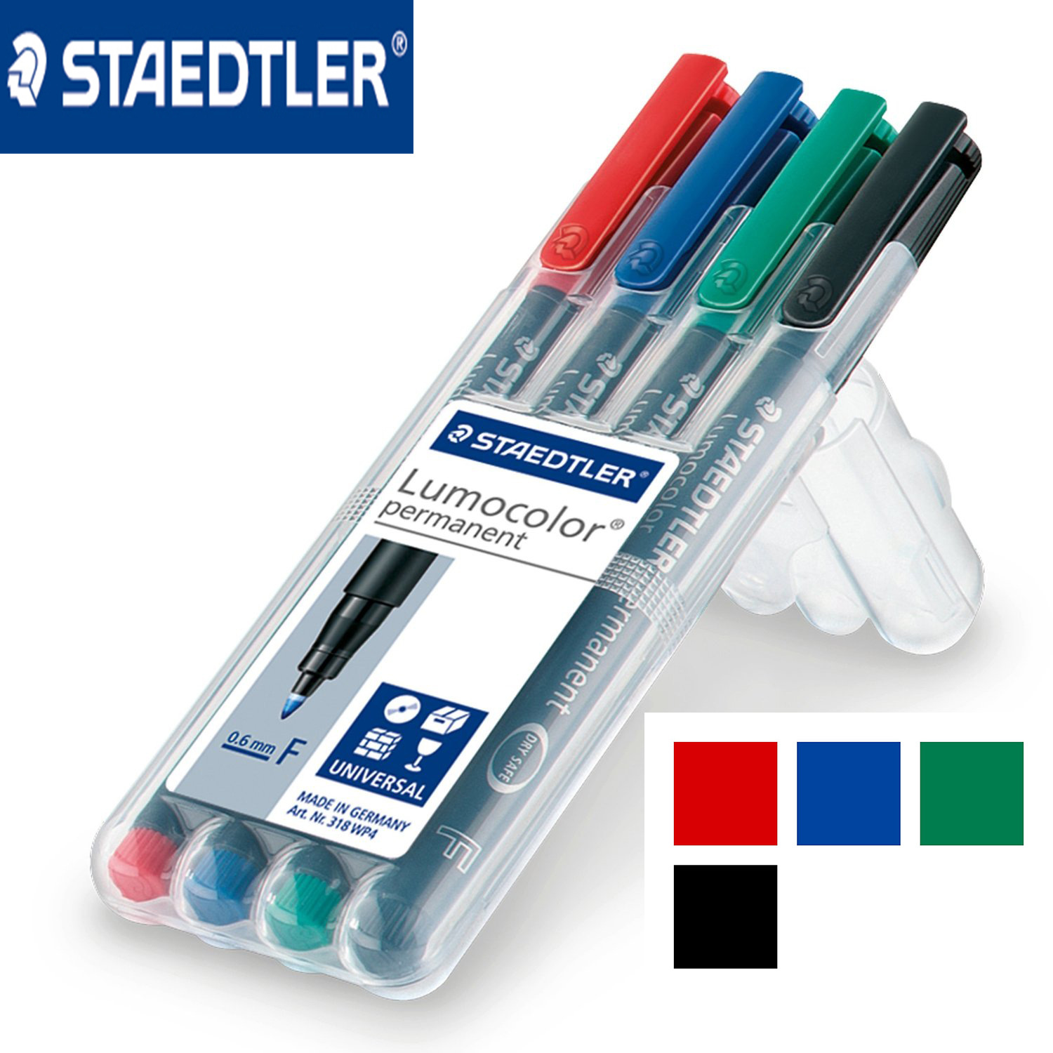 Staedtler 318-WP4 Lumocolor Permanent Marker Pen Fine Point 0.6mm Universal Pens Paint Writing for CD Paper Wood Multipurpose
