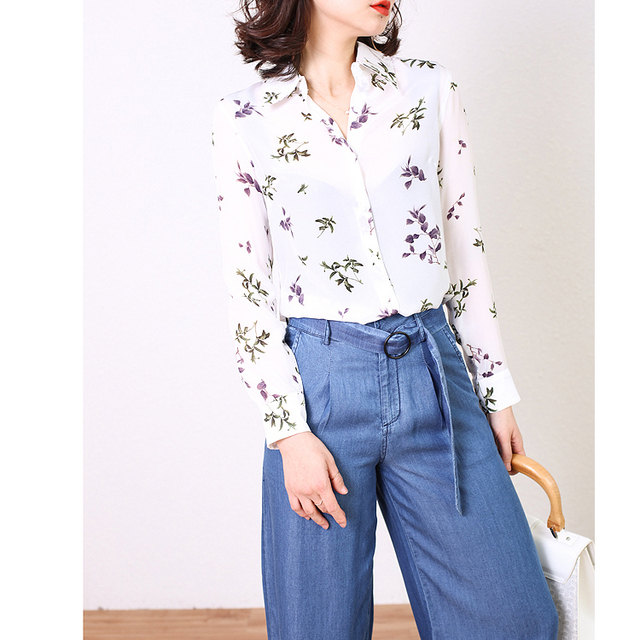 497c324c61 ... mulheres Do Manga Comprida Blusa De Seda Real Camisas do Desgaste  trabalho blusas. 100 Natural Silk Blouses Office Work Whit Floral Long  Sleeve Real ...