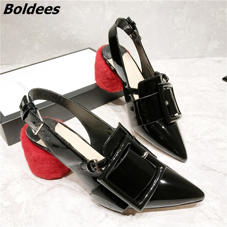New Trendy Design Color Matched PU Leather Block Heels Sexy Pointy Slingback Rings Decorated Chunky Heel Pumps Celebrity in Same цена 2017