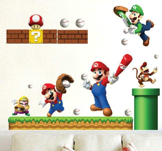 % 3d просмотра c Книги по искусству Ун Книги по искусству стены стикеры фильм Super Mario Мальчик номер Дети Книги по искусству Наклейка Фреска Дет...