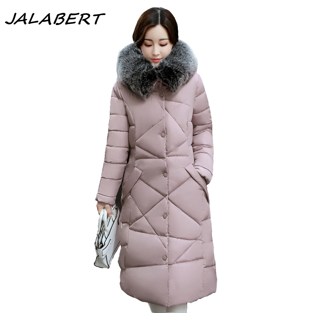 2017 Women Long New Large Fur Collar Thick Slim Cotton Coat Winter Parkas Jacket For Female Hooded Lrregular Check Warm Padded women winter cotton padded jacket warm slim parkas long thick coat with fur ball hooded outercoat female overknee hoodies parkas