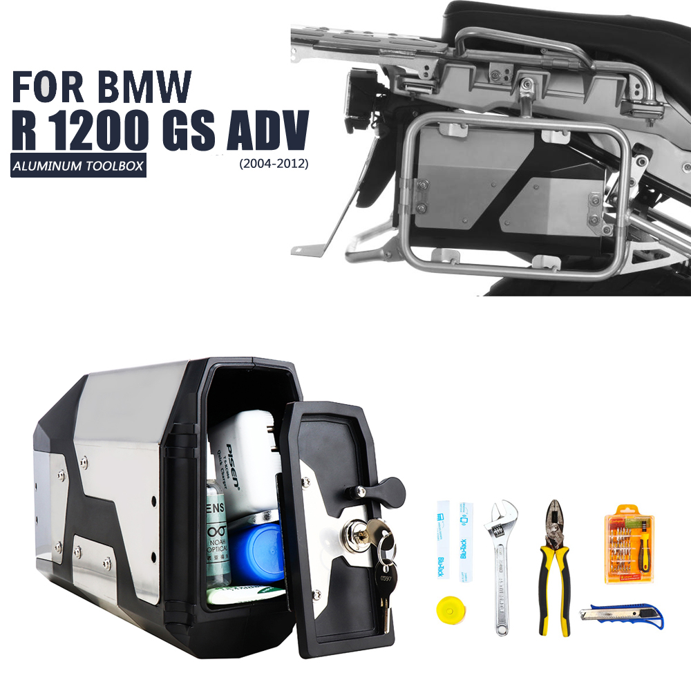 bike GP For BMW R1200GS ADV Adventure 2004-2012 R1200GS LC ADV GSA 2013-ON R1250GS ADV 2018-on Alloy ABS Box Toolbox 4.2 Liters Tool Box