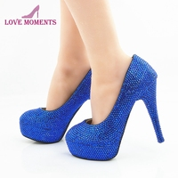 Blue Rhinestone Handmake Fashion Women Shoes Party Prom Free Shipping Bridal Wedding Shoes Cinderella Anniversary Stiletto