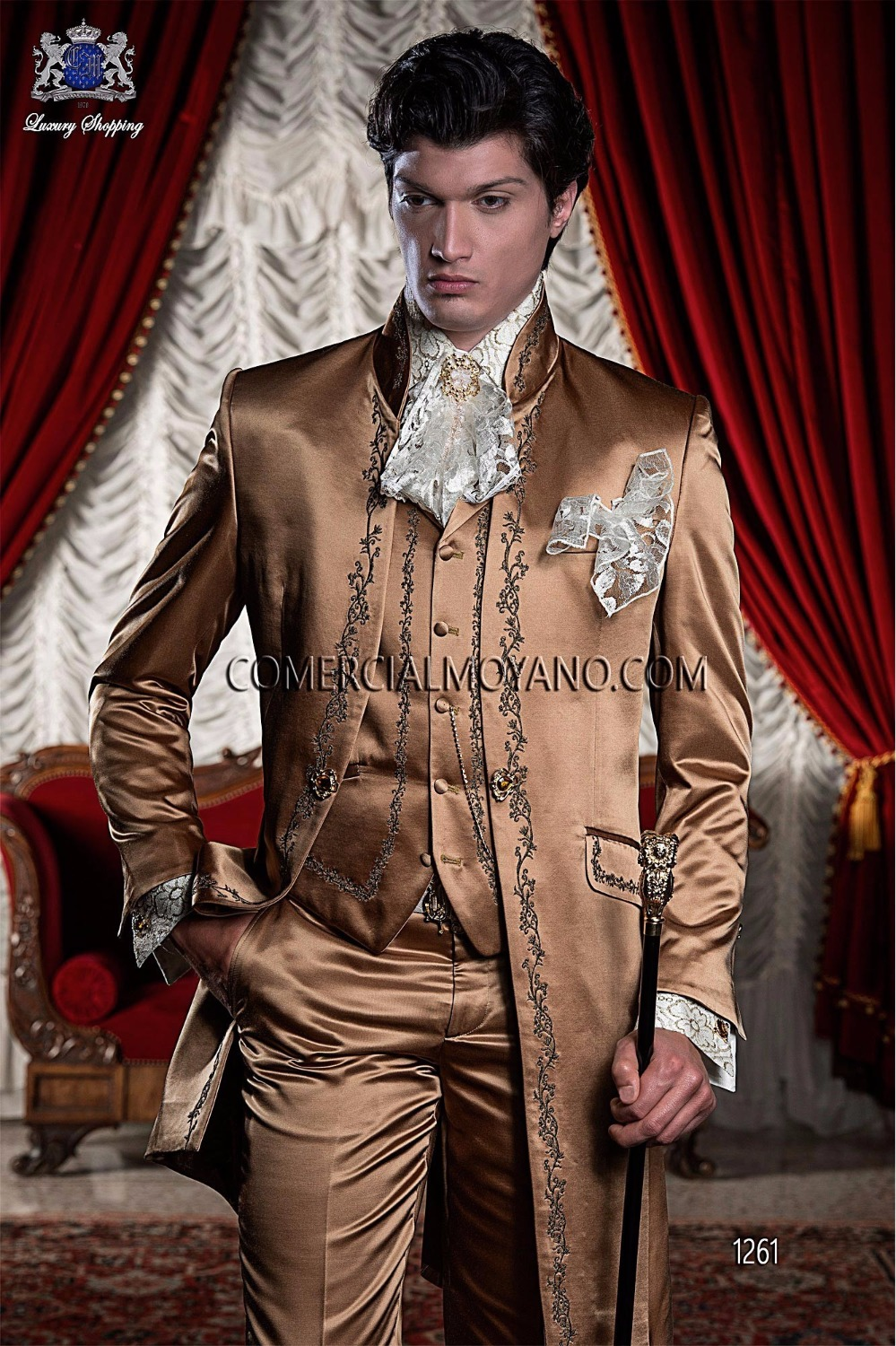 Latest Coat Pant Designs Italian Gold Embroidery Satin Men Suit