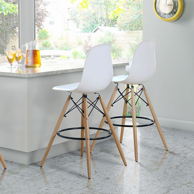 Us 3200 Bar Chair Stool Plastic Wooden Plastic Side Chair Stool Commercial Furniture Dinning Minimalist Modern Dining Chair 2pcs In Bar Chairs