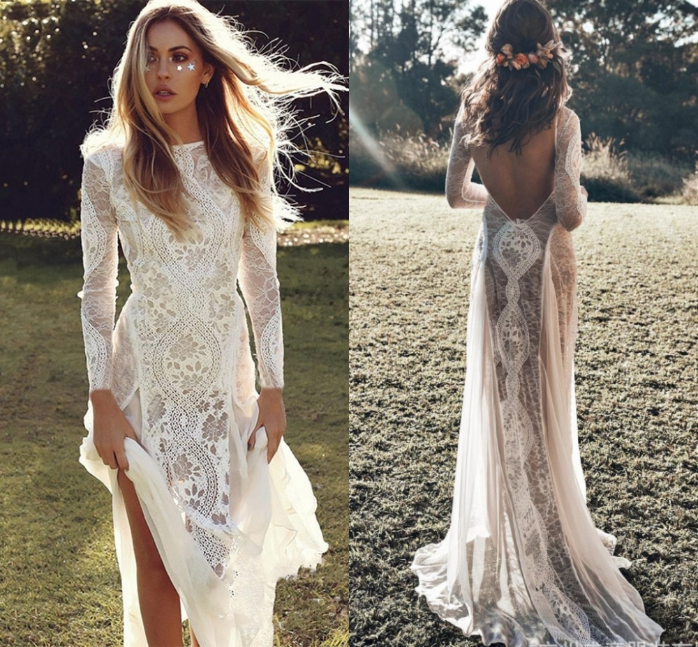 Ensotek Exquisite Lace Long Sleeve Backless Wedding Dress 2020 Boho Chic Wedding Dresses Bridal Gowns Robe De Mariage