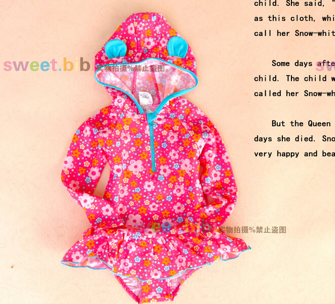 2015 baby girls swimwear swimsuit one-piece surf clothing rash guard kids+Soft silicone children swimming glasses - Stone Chang's store