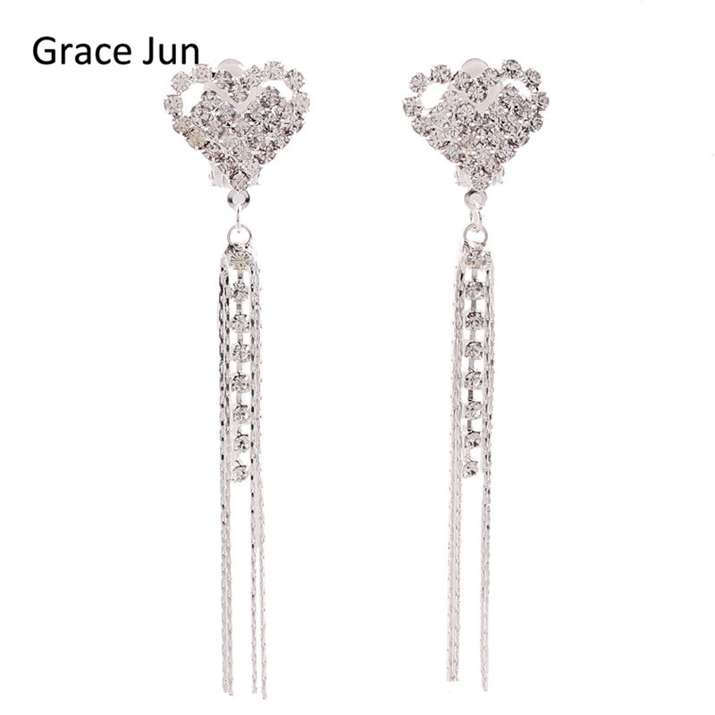 Grace Jun New Heart Tassels Rhinestone Clip en los pendientes sin perforar para mujeres Party Charm Jewelry No Hole Ear Clip Bijouterie