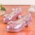 Высокое качество 2016 детей принцесса сандалии дети девушки свадебные туфли на высоких каблуках туфли ну вечеринку обувь для девочек розовый серебристый