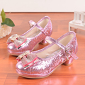 High Quality 2016 Children Princess Sandals Kids Girls Wedding Shoes High Heels Dress Shoes Party Shoes For Girls Pink Silver