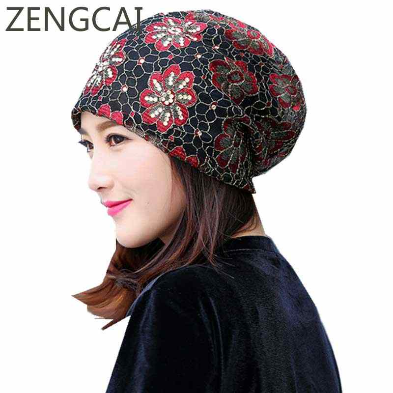 Women Turban Hat Ladies Summer Slouchy Beanie Rhinestone Hats Flower Lace  Knitted Caps Elegant Skullies Beanies d82db40311e5