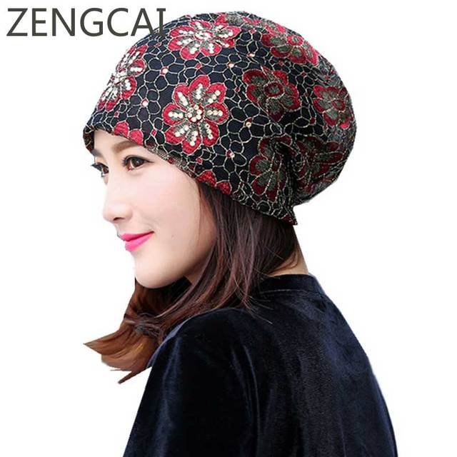 Mujeres turbante sombrero señoras verano Slouchy Beanie sombreros de  diamantes flor encaje de punto gorras elegante 3d37a6399be