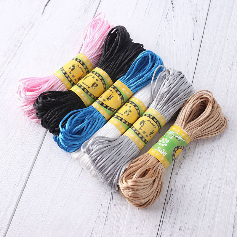 Nylon Rope 20mm Satin Cords DIY String Accessary Baby Silicone Teething Baby Teether Necklace Rattail Cord DIY Pacifier Chain
