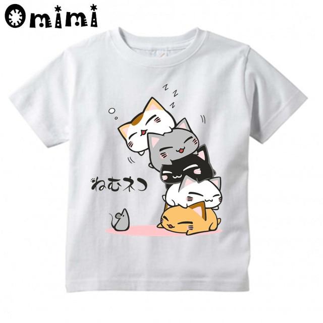 de0f4373e7 Kids Cute Cat Sleep Design T Shirt Boys and Girls Great Casual Short Sleeve Tops  Children s Funny T-Shirt Clothing