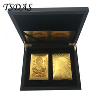 Golden & Colorful 24k Gold Poker Card Gold Plated India God Style Souvenir Playing Cards With Wooden Box