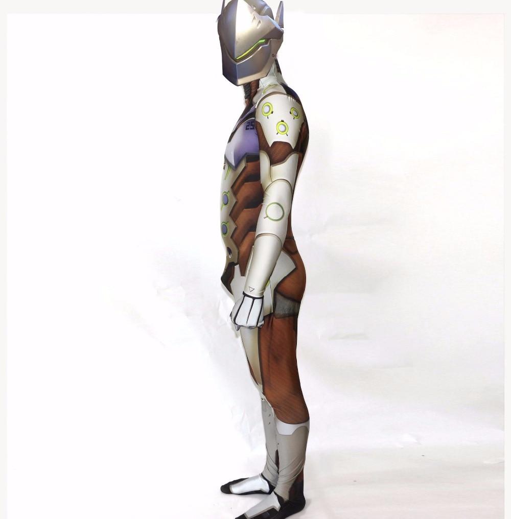 Хэллоуин святых всех святых Overwatch Genji Косплей костюмы комбинезон Колготки для взрослых/детей